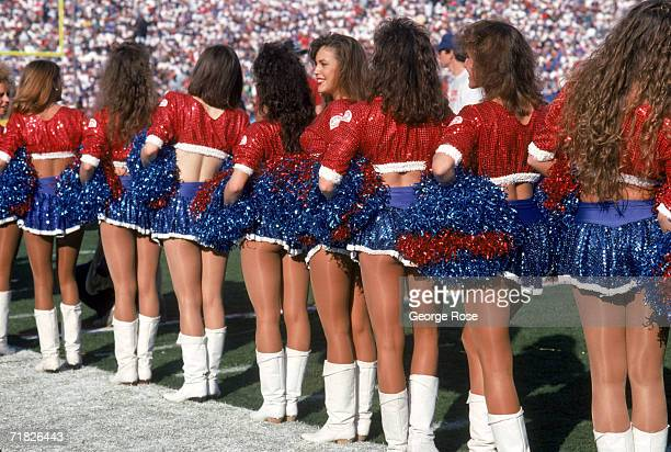 The Buffalo Jills cheerleaders stand on the sidelines during Super Bowl XXVII between the Dallas Cowboys and the Buffalo Bills at the Rose Bowl on...