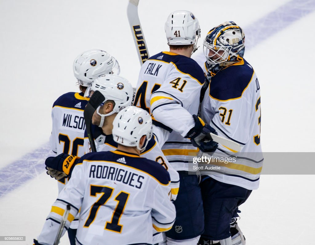 The Buffalo Sabres celebrate the win against the Tampa Bay Lightning at Amalie Arena on February 28, 2018 in Tampa, Florida.