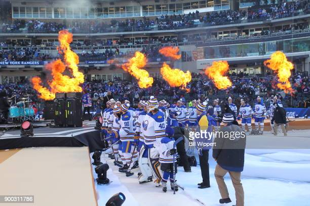 The Buffalo Sabres make their way to the ice for the 2018 Bridgestone NHL Winter Classic at Citi Field against the New York Rangers on January 1 2018...