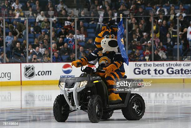 The Buffalo Sabres mascot Sabretooth rides on the ice during the game against the Montreal Canadiens at HSBC Arena on November 23 2007 in Buffalo New...