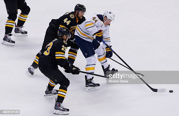 The Buffalo Sabres' Nicolas Deslauriers center skates past the Boston Bruins' Dennis Seidenberg top and Chris Kelly during the second period of play...