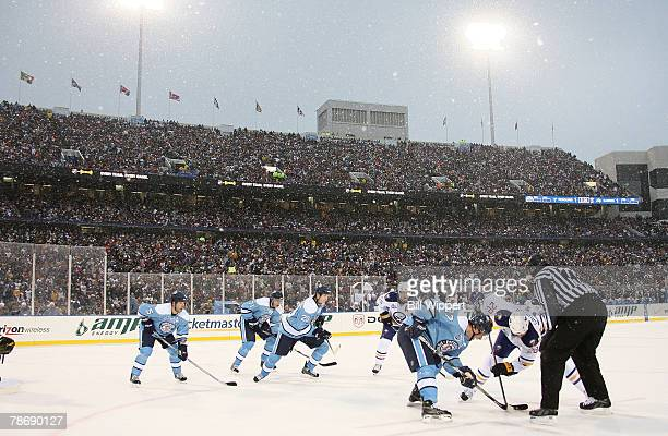 The Buffalo Sabres play the Pittsburgh Penguins in the NHL Winter Classic on January 1 2008 at Ralph Wilson Stadium in Orchard Park New York