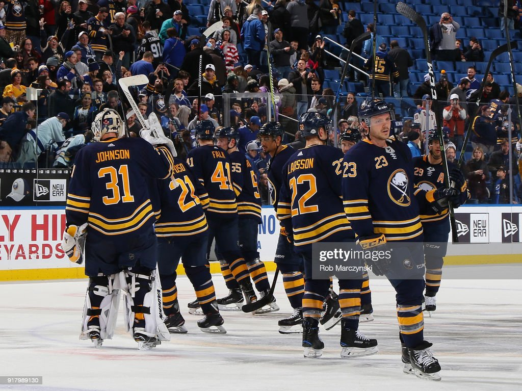 The Buffalo Sabres salute their fans following their 5-3 victory against the Tampa Bay Lightning during an NHL game on February 13, 2018 at KeyBank Center in Buffalo, New York.