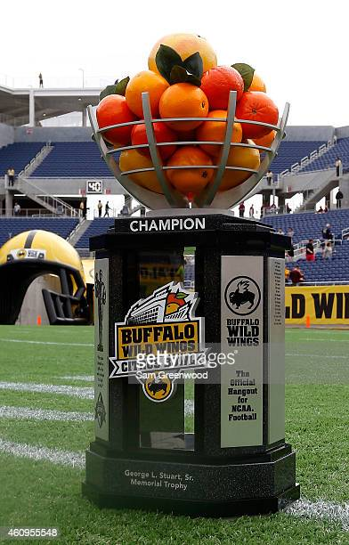 The Buffalo Wild Wings Citrus Bowl trophy as seen at the Florida Citrus Bowl on January 1 2015 in Orlando Florida
