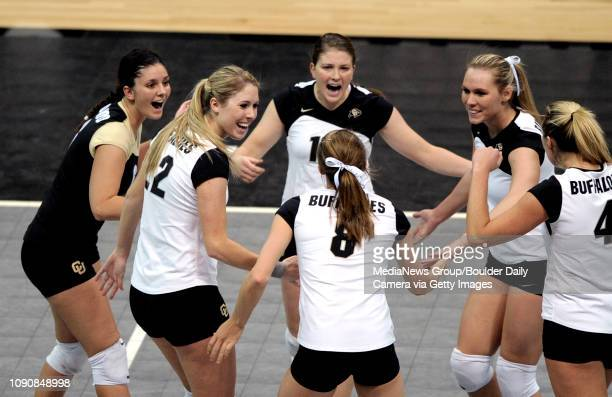 The Buffaloes celebrate a point against KSU