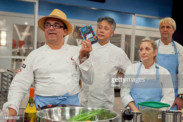 MASTERS 'The Buffet Must Go On' Episode 401 Pictured Contestants Theirry Rautureau Takashi Yagihashi Debbie Gold Mark Gaier