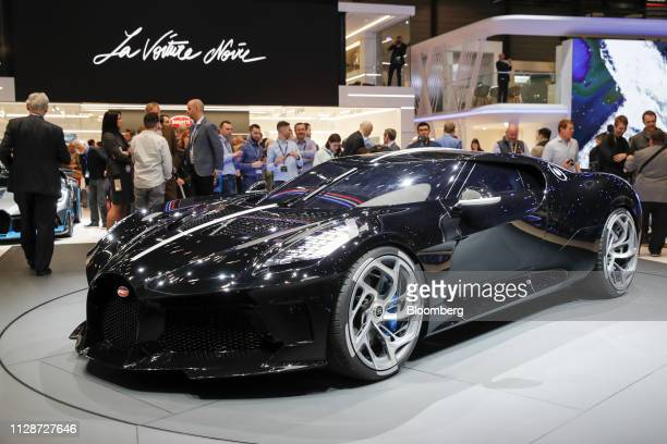 The Bugatti Automobiles SAS La Voiture Noire ultra luxury automobile sits on display on the opening day of the 89th Geneva International Motor Show...