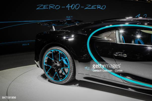 The Bugatti Chiron 42 Seconds on display at the 2017 Frankfurt Auto Show 'Internationale Automobil Ausstellung' on September 13 2017 in Frankfurt am...