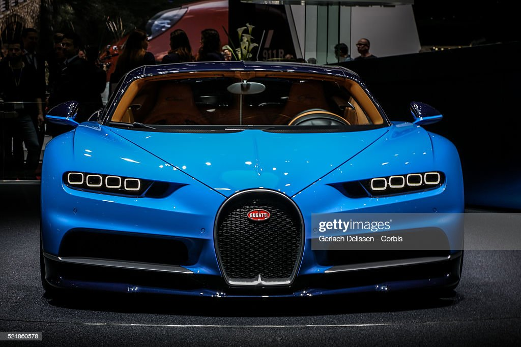 The Bugatti Chiron on display at the 86th Geneva International Motorshow at Palexpo in Switzerland, March 2, 2016.