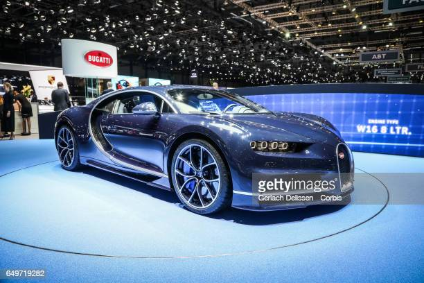 The Bugatti Chiron on display during the second press day of the Geneva Motor Show 2017 at the Geneva Palexpo on March 8 2017 in Geneva Switzerland