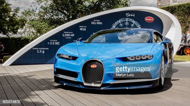 The Bugatti Chiron on display in the gardens of Goodwood house during Goodwood Festival of Speed 2017 on July 1 2017 in Chichester England