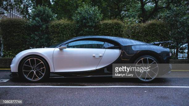 The Bugatti Chiron Seen parked outside the Park Tower Hotel in Knightsbridge London England The car is owned by Saudi Arabian rally driver Yazeed...