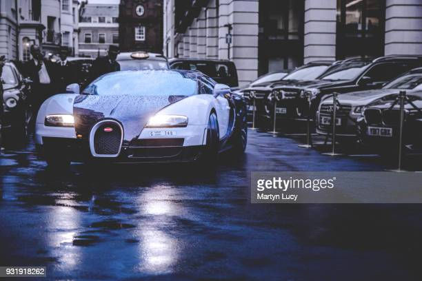 The Bugatti Veyron outside The Dorchester hotel in London The Veyron Worth over £13 million travelled from Dubai and was seen here leaving The...