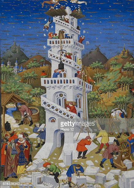 The building and destruction of the Tower of Babel Illuminated parchment from the Book of Hours of the Duke of Bedford Ms 18850 f 17 v 1423 London...