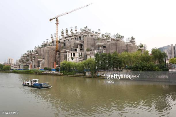 The building dubbed as the Hanging Gardens of Babylon is under construction on July 14, 2017 in Shanghai, China. The building will be completed in...