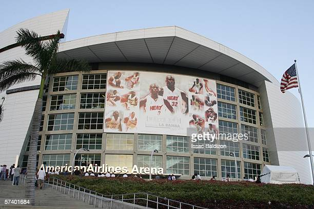 The building exterior as seen before the start of game one of the Eastern Conference Quarterfinals during the 2006 NBA Playoffs at American Airlines...