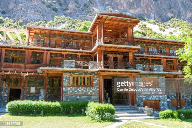 The building follows the traditional flat-roofed, multi-storey structure in a modernized architecture on Mai 18, 2016 in Bomburet, Khyber...