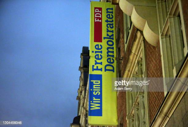 The building holding the headquarters of the German Free Democrats is seen the day after elections in the state of Thuringia, on February 6, 2020 in...
