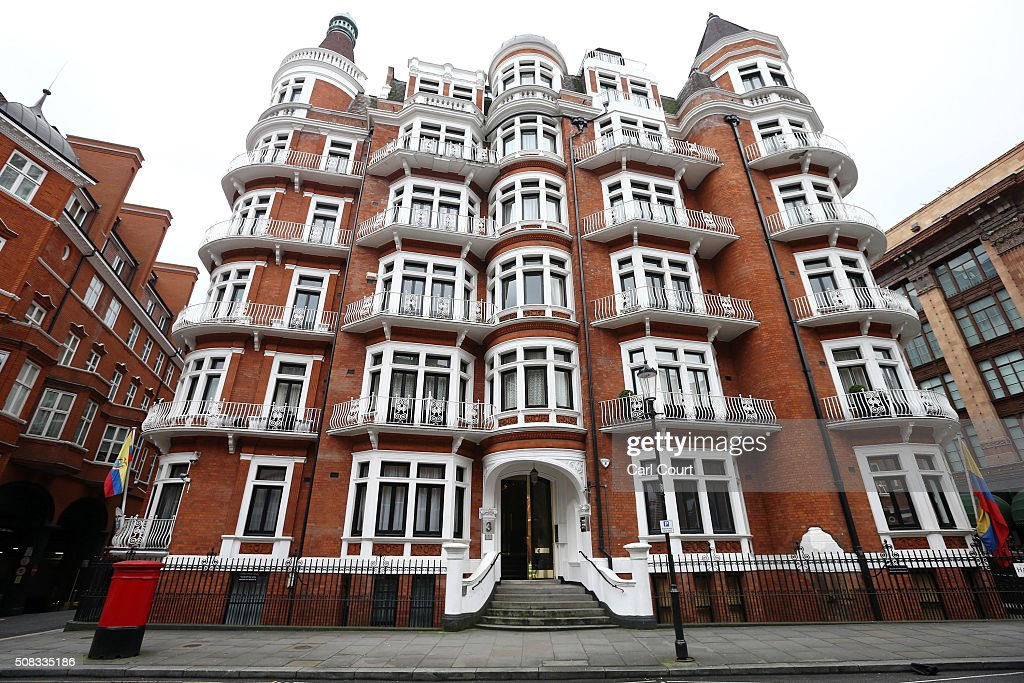 UN Panel To Rule That Wikileaks Founder Is Unlawfully Detained At Ecuadorian Embassy : News Photo