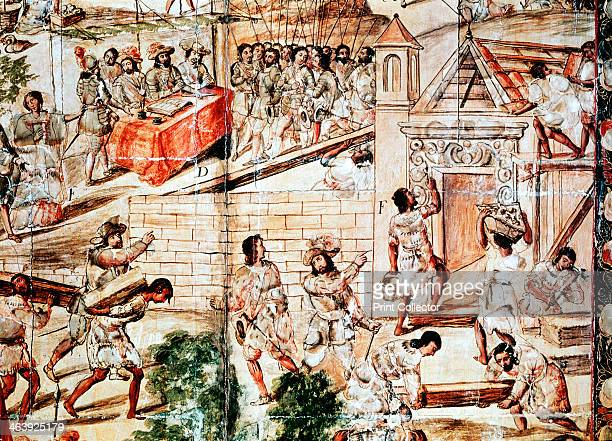 The building of Mexico City 16th century Native slaves building Mexico City on the ruins of the Aztec capital of Tenochtitlan under the direction of...