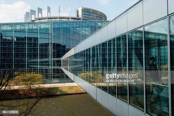 The building of the European Parliament is pictured in Strasbourg eastern France on April 3 2017 / AFP PHOTO / Sebastien Bozon