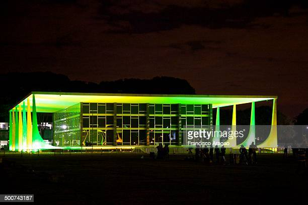 The building of the Supreme Court in the colors of Brazil in the World Cup FIFA 2014.