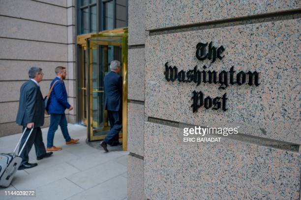 TOPSHOT The building of the Washington Post newspaper headquarter is seen on K Street in Washington DC on May 16 2019 The Washington Post is a major...
