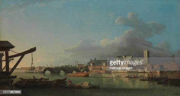 The Building of Westminster Bridge. View of London and the Thames River with still unfinished Westminster Bridge and the tower of Saint Margaret's...