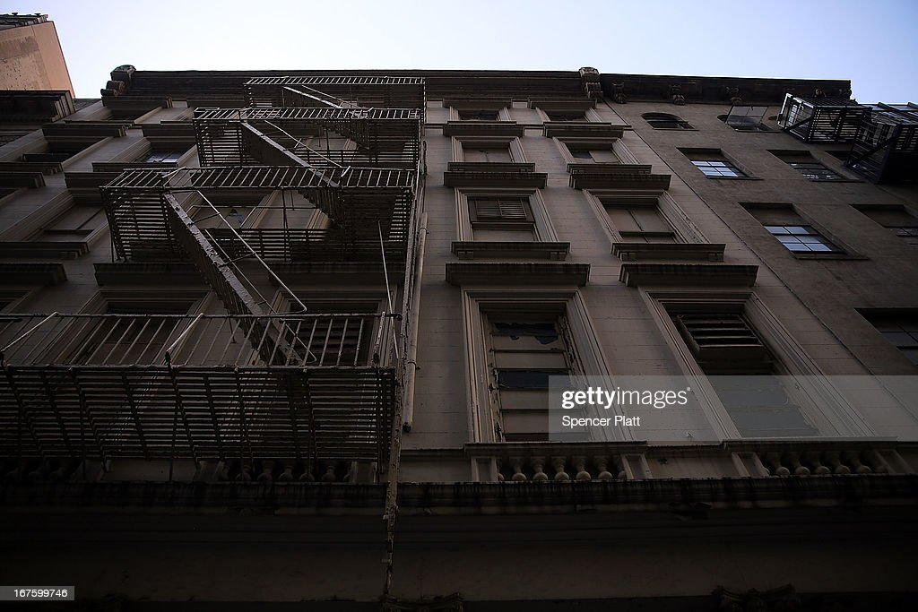 The building on Park Place in lower Manhattan where a piece of landing gear believed to be from one of the planes destroyed in the September 11 attacks has been discovered is seen on April 26, 2013 in New York City. The landing gear was discovered wedged between a mosque site and luxury high-rise apartment building, about three blocks north from the World Trade Center site.