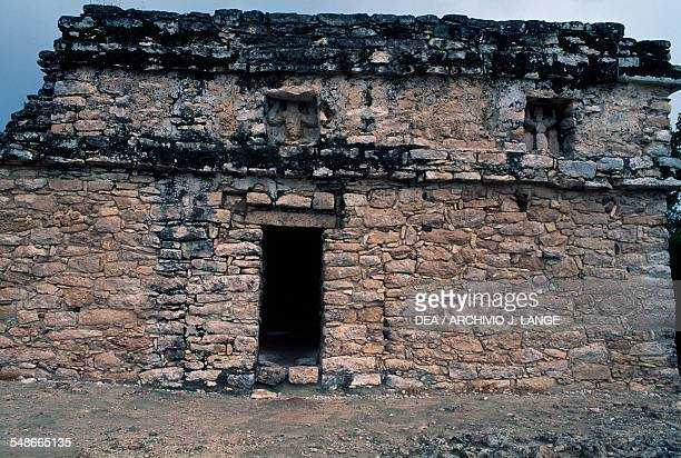 The building on the top of the pyramid known as The Castle Nohoch Mul Group or Group C Coba Quintana Roo Mexico Mayan civilisation 14th15th century