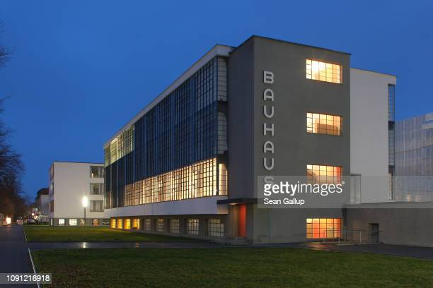 The building that housed the Bauhaus art school from 1925 to 1932 and is today a museum stands at twilight on January 07 2019 in Dessau Germany...