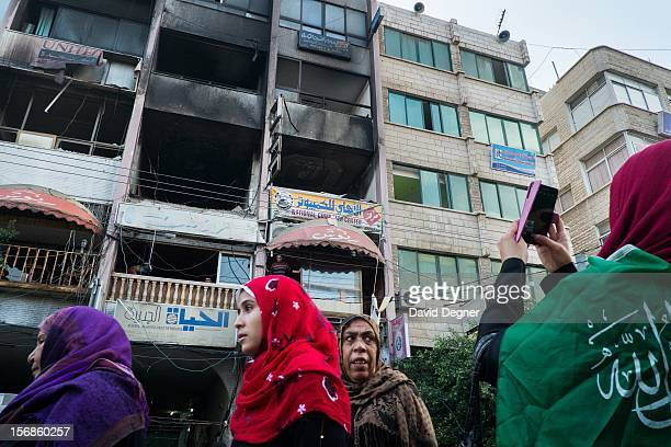 The building that used to house the Al-Aqsa channel was hit by the Israeli air force during Operation Pillar of Defense, in Gaza City Gaza on...
