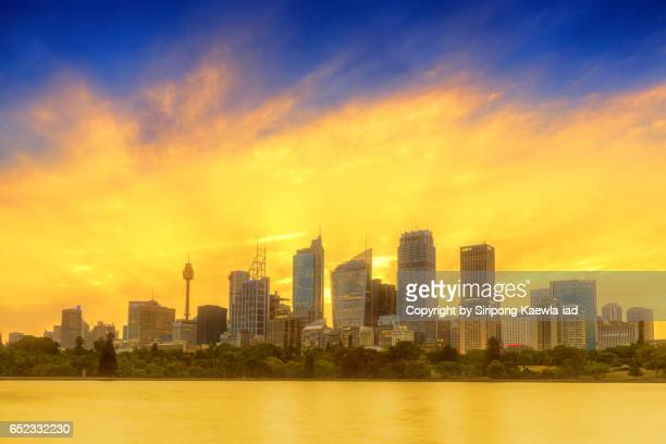 The buildings around central business district (CBD) of Sydney during sunset in the evening
