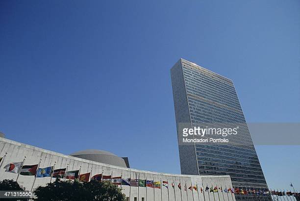 The buildings forming the headquarters of the United Nations In the background the wellknown UN tall building built between 1940 and 1950 New York...