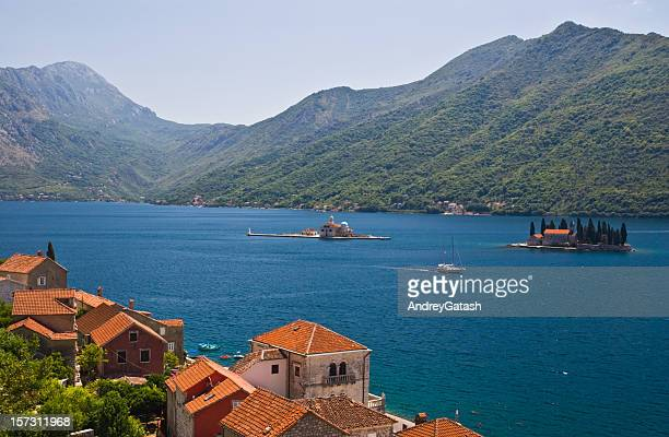The buildings, mountains and Kotor Bay in Perast, Montenegro