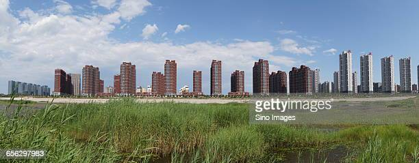 the buildings of chaobai river in beijing yanjiao  - yanjiao stock pictures, royalty-free photos & images