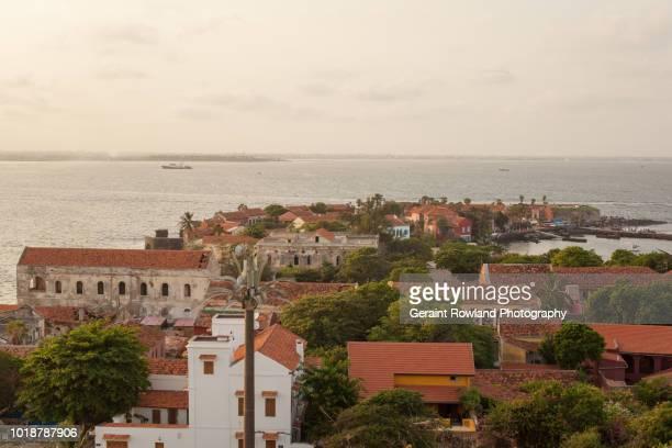 the buildings of gorée island, senegal - dakar senegal stockfoto's en -beelden