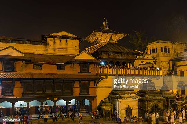 The buildings of Pashupatinath temple at the banks of Bagmati River are illuminated at night
