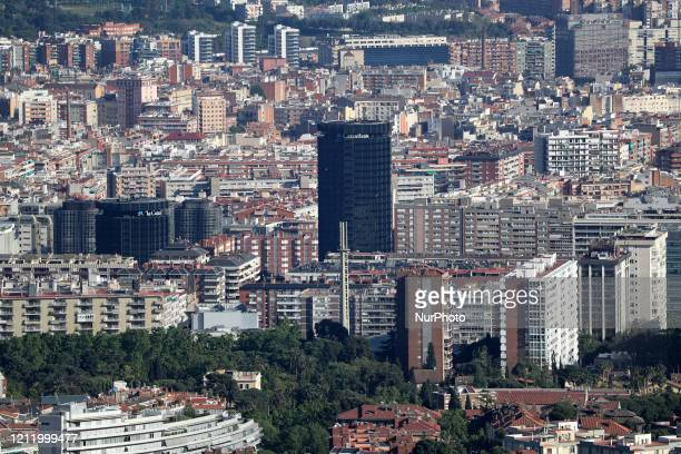 The buildings of the bank quotLa Caixaquot Barcelona reaches historic lows in air pollution on 06th May 2020