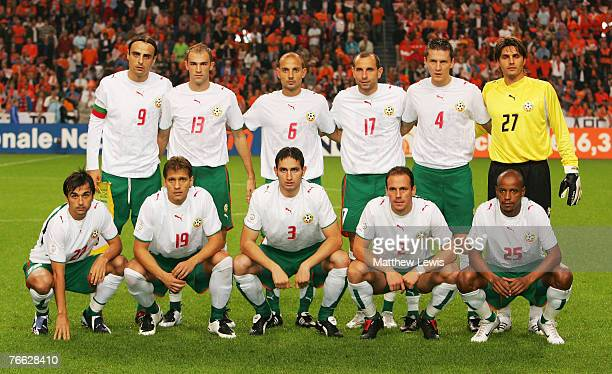 The Bulgarian Football Team line up ahead of the Euro 2008 Group G Qualifying match between the Netherlands and Bulgaria at the Amsterdam ArenA on...