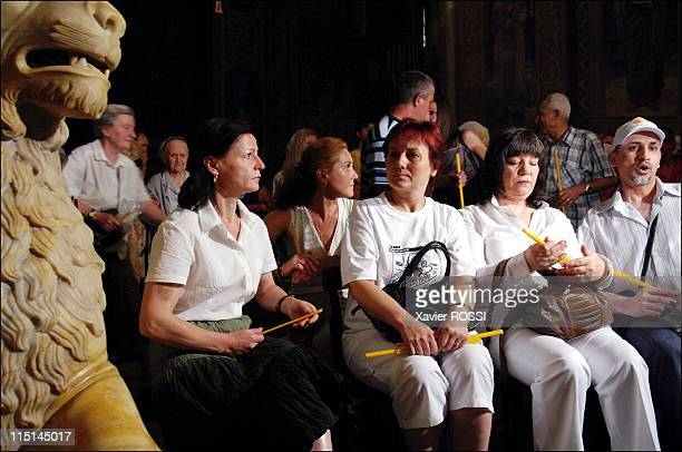 The Bulgarian nurses and doctor attend a ceremony at the Alexander Nevski Cathedral in Sofia Bulgaria on July 28 2007 Bulgarian nurses Christiana...