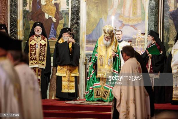 The Bulgarian Patriarch Neofit during the liturgy by the grateful prayer for the 80th birthday of HH Tsar Simeon II at the goldendomed Alexander...
