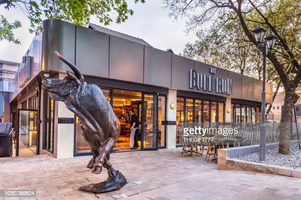 the bull statue in sandton city, johannesburg - sandton stock pictures, royalty-free photos & images