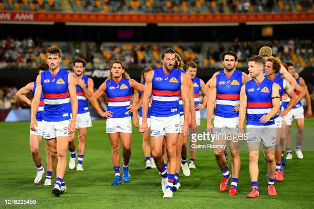 The Bulldogs are dejected after they were defeated by the Saints during the AFL Second Elimination Final match between the St Kilda Saints and the...