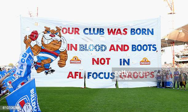 The Bulldogs banner is seen during the AFL First Preliminary Final match between the Greater Western Sydney Giants and the Western Bulldogs at...