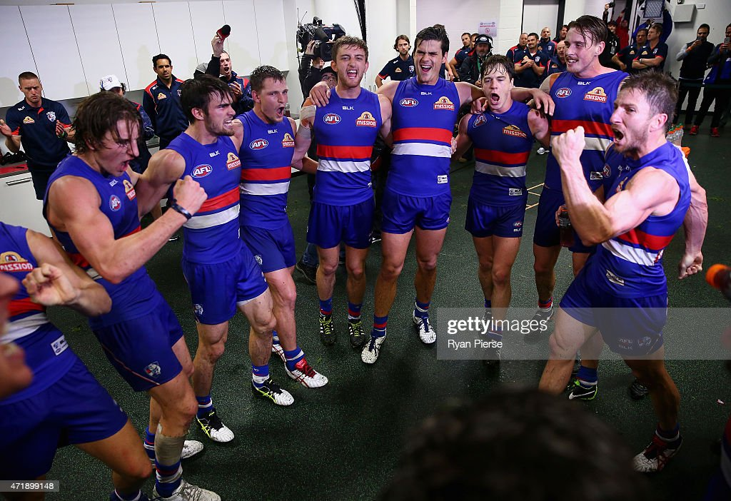 The Bulldogs celebrate victory after the round five AFL match between the Sydney Swans and the Western Bulldogs at SCG on May 2, 2015 in Sydney, Australia.