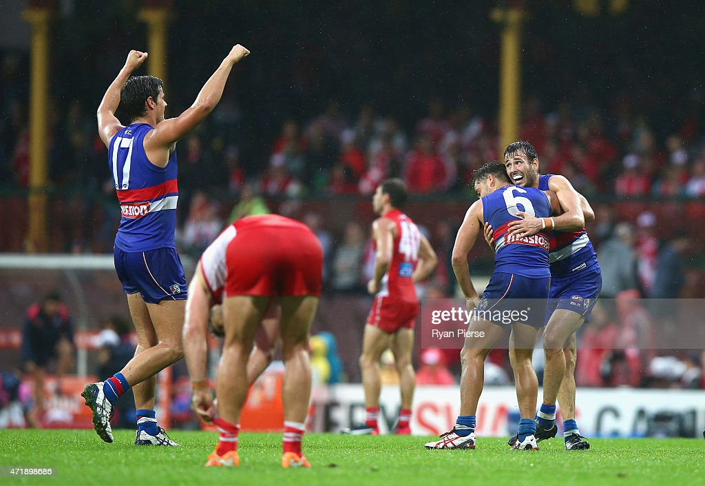 The Bulldogs celebrate victory as the siren sounds during the round five AFL match between the Sydney Swans and the Western Bulldogs at SCG on May 2, 2015 in Sydney, Australia.