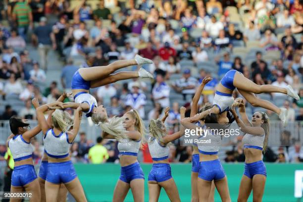 The Bulldogs dance crew perform during the round one NRL match between the Canterbury Bulldogs and the Melbourne Storm at Perth Stadium on March 10...