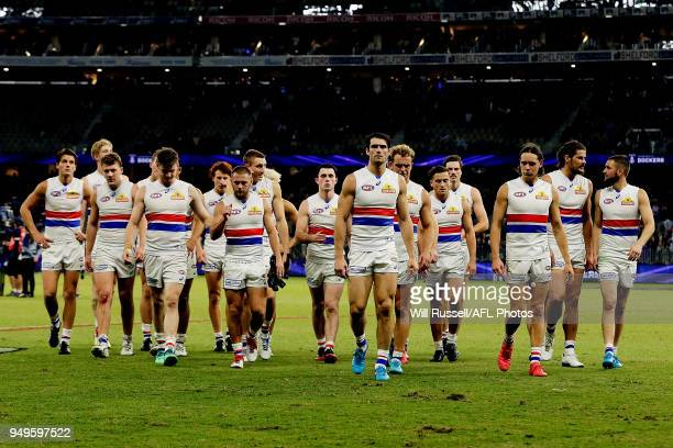 The Bulldogs leave the field after the teams defeat during the round five AFL match between the Fremantle Dockers and the Western Bulldogs at Optus...