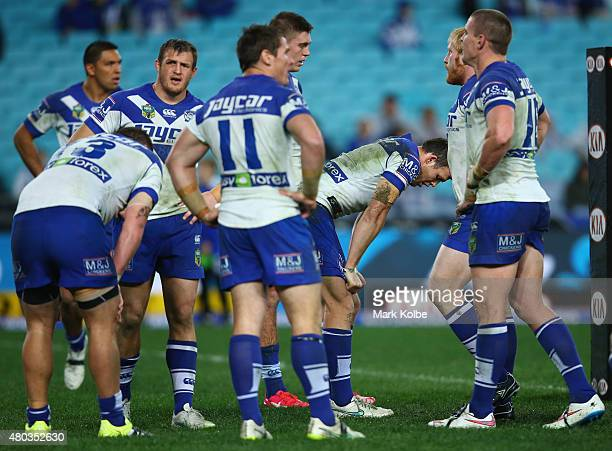 The Bulldogs looks dejected after a Broncos try during the round 18 NRL match between the Canterbury Bulldogs and the Brisbane Broncos at ANZ Stadium...